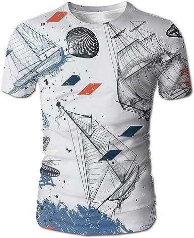 Mens Graphic Print T-Shirt Tee Tops Crew Neck Casual Short Sleeve Summer Shirts