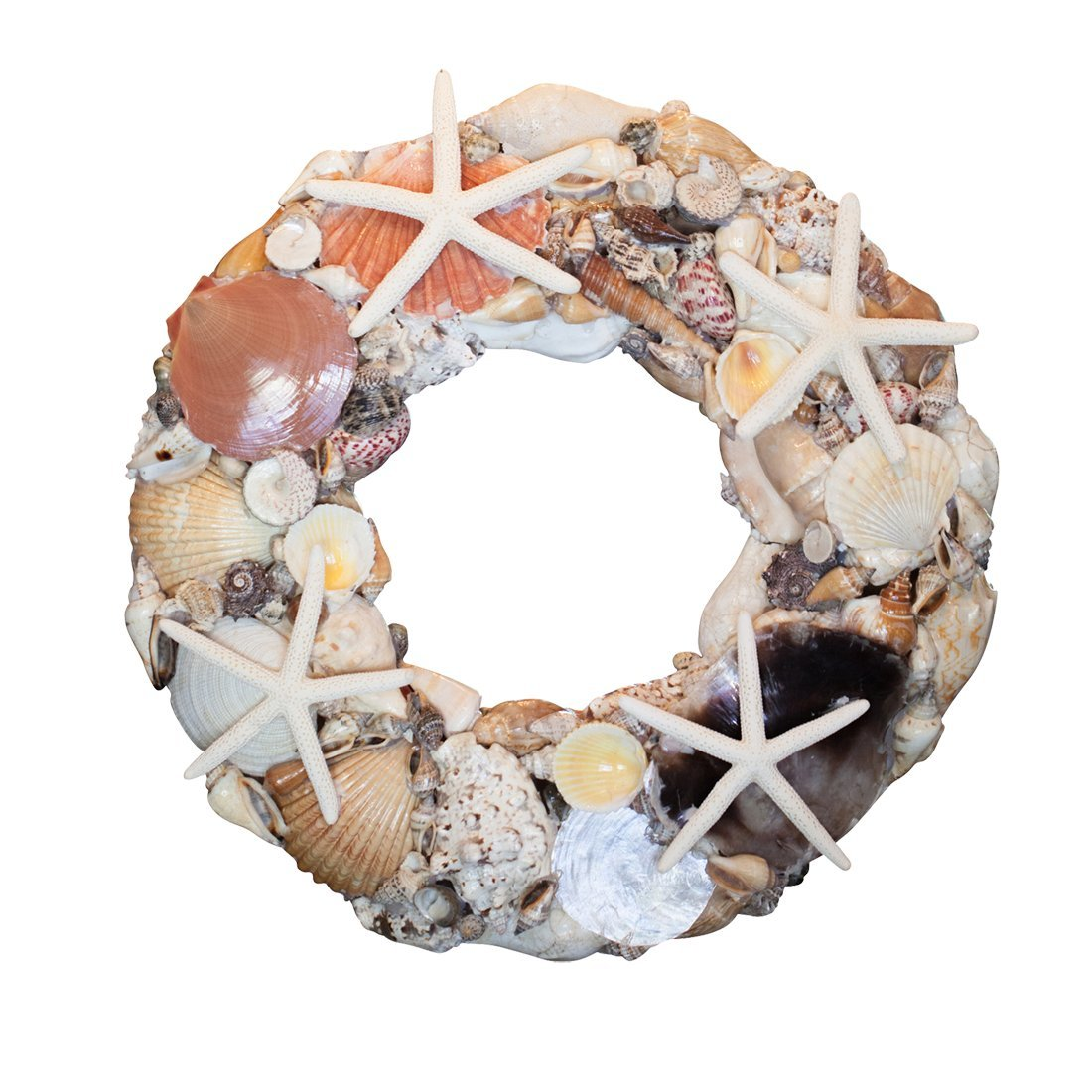 14'' Shell Wreath-Starfish & Seashells Coastal Beach Home Decor, Christmas Ornaments, Weddings & more