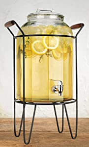 Retro Beverage Panel Drink Dispenser Durable Glass 3 Gallon with Spigot in Metal Caddy