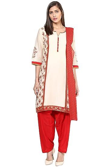 f32700416 Trishaa by Pantaloons Women s Polyester Straight Salwar Kurta Dupatta  (205000005644954 White Small)