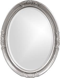 Howard Elliott Queen Ann Oval Hanging Wall Mirror, Beveled, Vanity, Glossy Nickel, 25 x 33 Inch