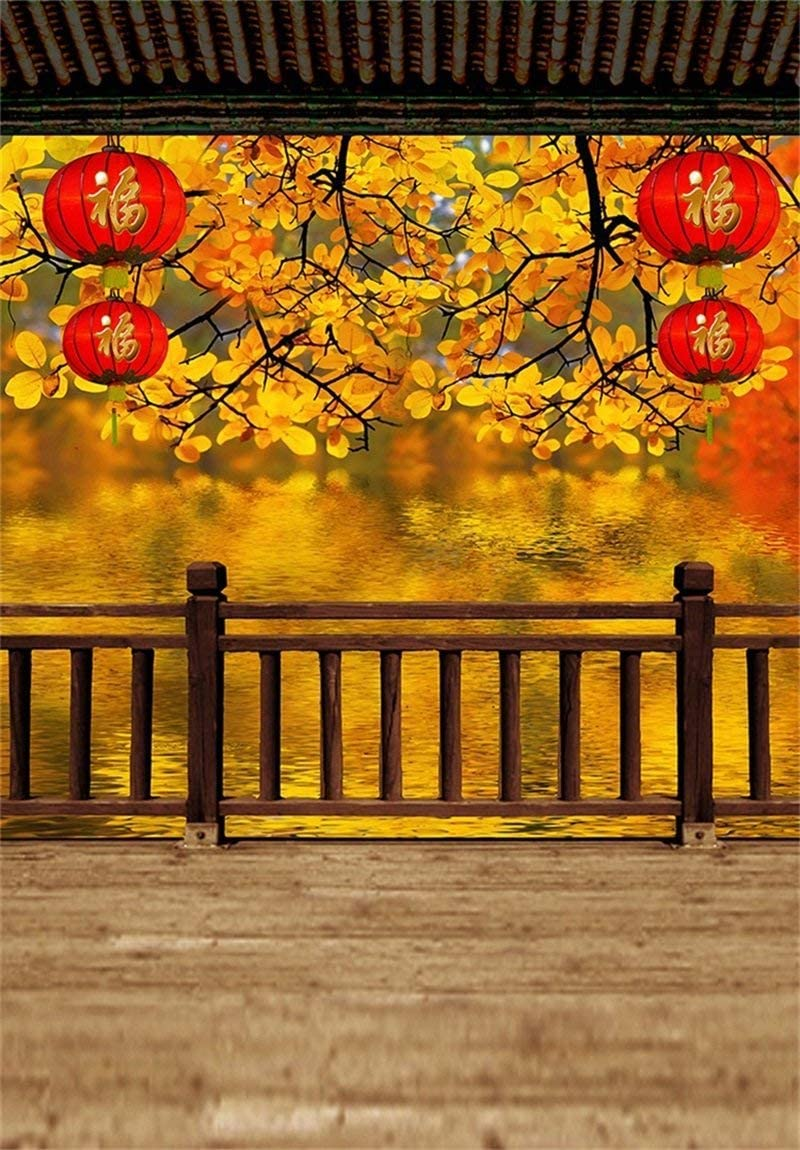 CdHBH 10x12ft Autumn Leaves Railing Retro red Lantern Blur Wooden Floor Adult Art Portrait Chinese Traditional Scene Portrait Clothing Photo Photography Background Cloth Vinyl Material