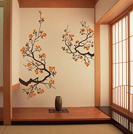 Cherry Blossom Wall Sticker Large Decal Decor (Default (Brown-Persimmon) Size & Amazon.com: Cherry Blossom Wall Sticker Large Decal Decor (Default ...