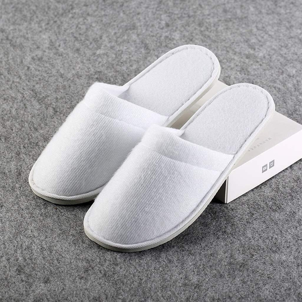 LBWT Hotel Slippers, Household Guest Slippers Disposable Non-Slip Sponge Slippers Suitable for Spa Party Hotel and Travel 50 Pairs (Color : White) by LBWT
