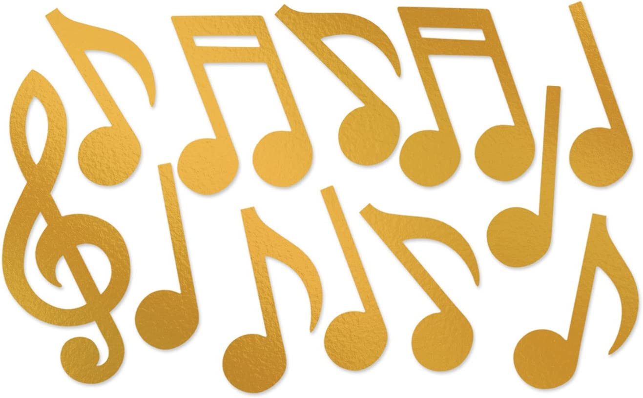 Music Notes Party Decorations Pack of 12 Large Gold Musical Note Silhouettes