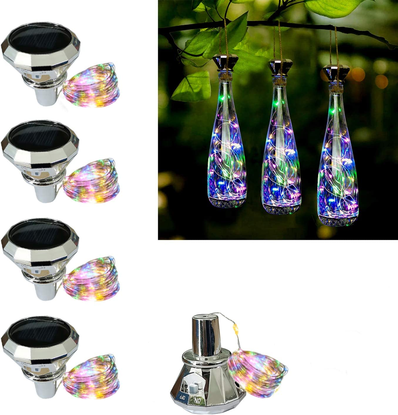 Solar Bottle Lights, Wine Bottle Light with Cork, 5 Pack 20LED Outdoor Waterproof Fairy Light Strings for Recycling Wine Bottle,Gardens,Patio Decoration (5pack Multicolor)