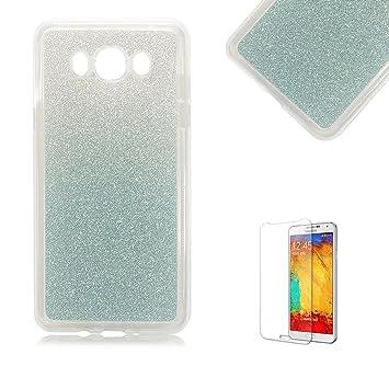 Samsung Galaxy J5 (2015) - Carcasa de silicona suave con protector de pantalla incluido (gel, TPU, purpurina dorada, cambia de color, antigolpes).