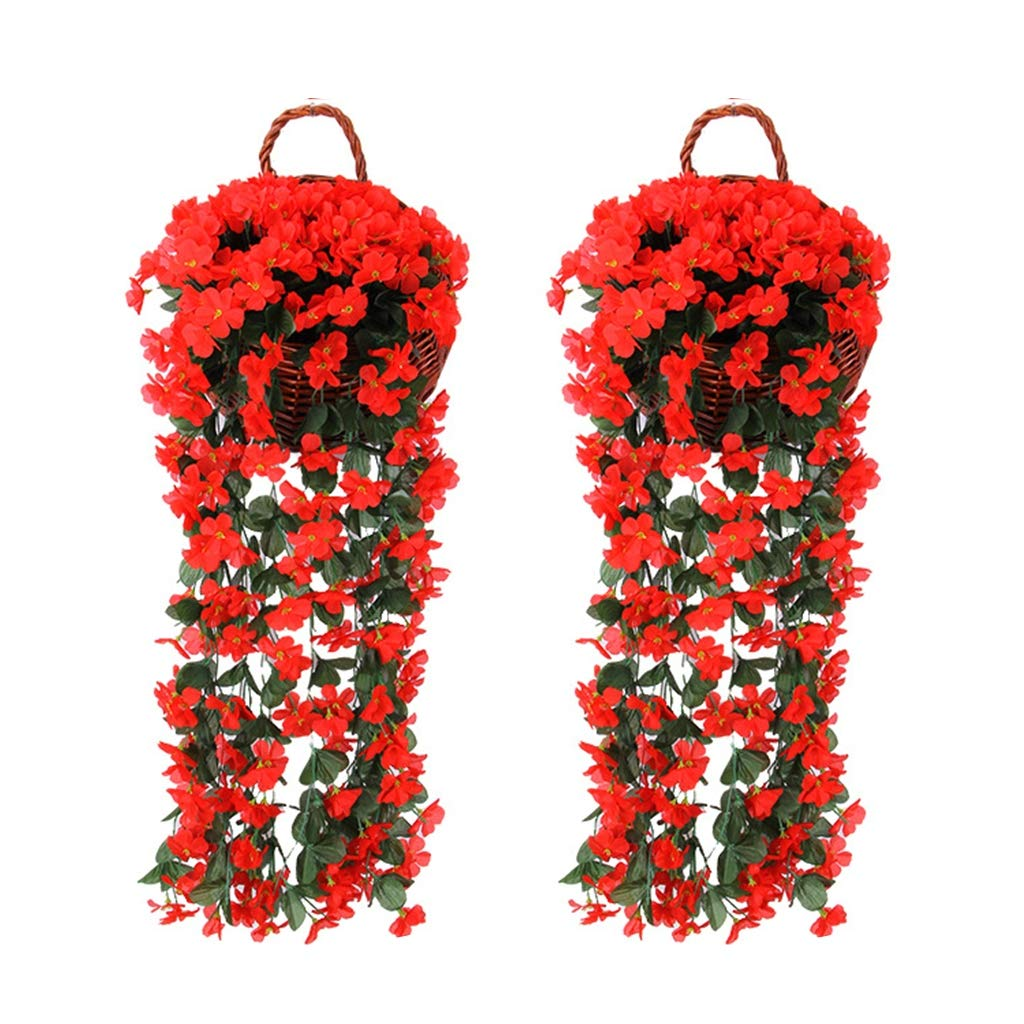 DreamJ 2Pcs Violet Hanging Flower, Artificial Basket Hanging Garland Vine Flowers for Wedding Home Garden Balcony Floral Decoration(Red)