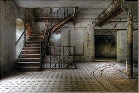 9 foot haunted stairwell wall mural halloween scene setter photo backdrop d