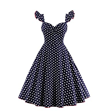 NEW backless party dress rockabilly vintage audrey hepburn saia dresses vintage female summer blue dot button