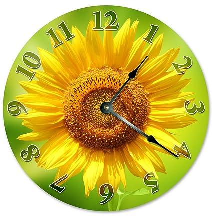 Exceptionnel Sugar Vine Art YELLOW SUNFLOWER CLOCK Unique Clock Large 10.5u0026quot; Wall  Clock Decorative Round Wall