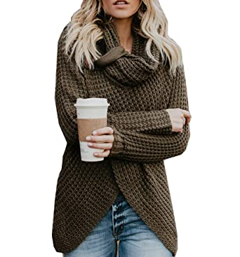 2fb12df004 Soficy Womens Sweaters Cowl Neck Chunky Cable Knit Hooded Wrap Cardigan  Pullover Sweater Coats Button at Amazon Women s Clothing store
