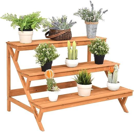 Escalera de madera de 3 niveles para macetas, soporte con libro electrónico: Amazon.es: Jardín