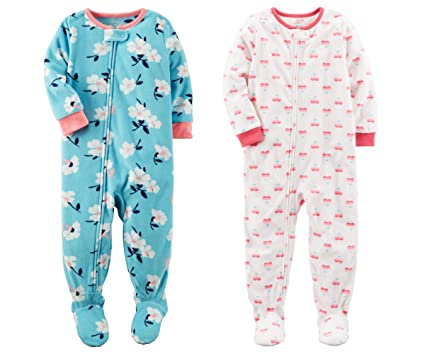 1fb8420f3305 Amazon.com  Carters Baby Toddler Girls 2 Pack Fleece Footed Pajama ...