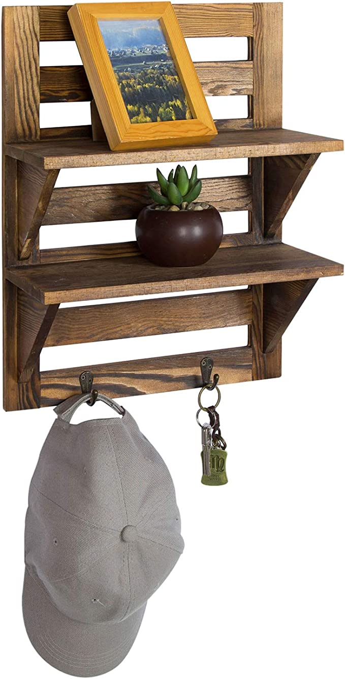 Amazon Com Mygift Wall Mounted Dark Brown Wood 2 Tier Floating Shelf Rack With 2 Key Hooks Home Kitchen