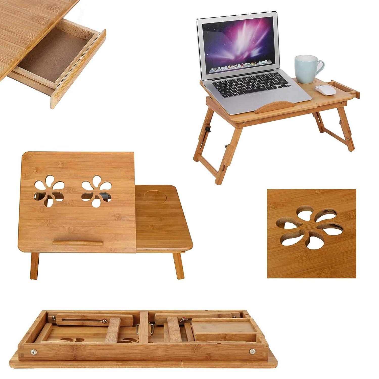 Mervy - Tavolino da letto pieghevole per PC portatile/notebook + cassetto, vassoio per colazione a letto, per letto/divano, regolabile, supporto per computer portatile, in legno, per lettura MUSTDUNET