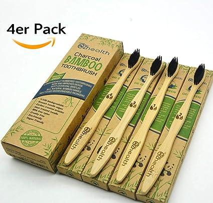 Juego de 4 cepillos ecológicos ♻ de dientes, fabricados con madera de bambú y con cerdas ...