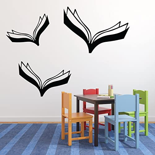 Amazon Com Book Wall Decals Flying Books Reading Themed Decor