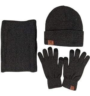 0d275f9034f JOYEBUY Men 3 PCS Knitted Set Winter Warm Knit Hat + Scarf + Touch Screen  Gloves