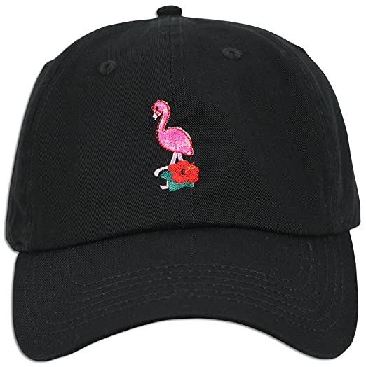 0060aea1c8e Flamingo Hawaiian Hibiscus Embroidered Dad Cap Adjustable Unconstructed Hat  (Black)