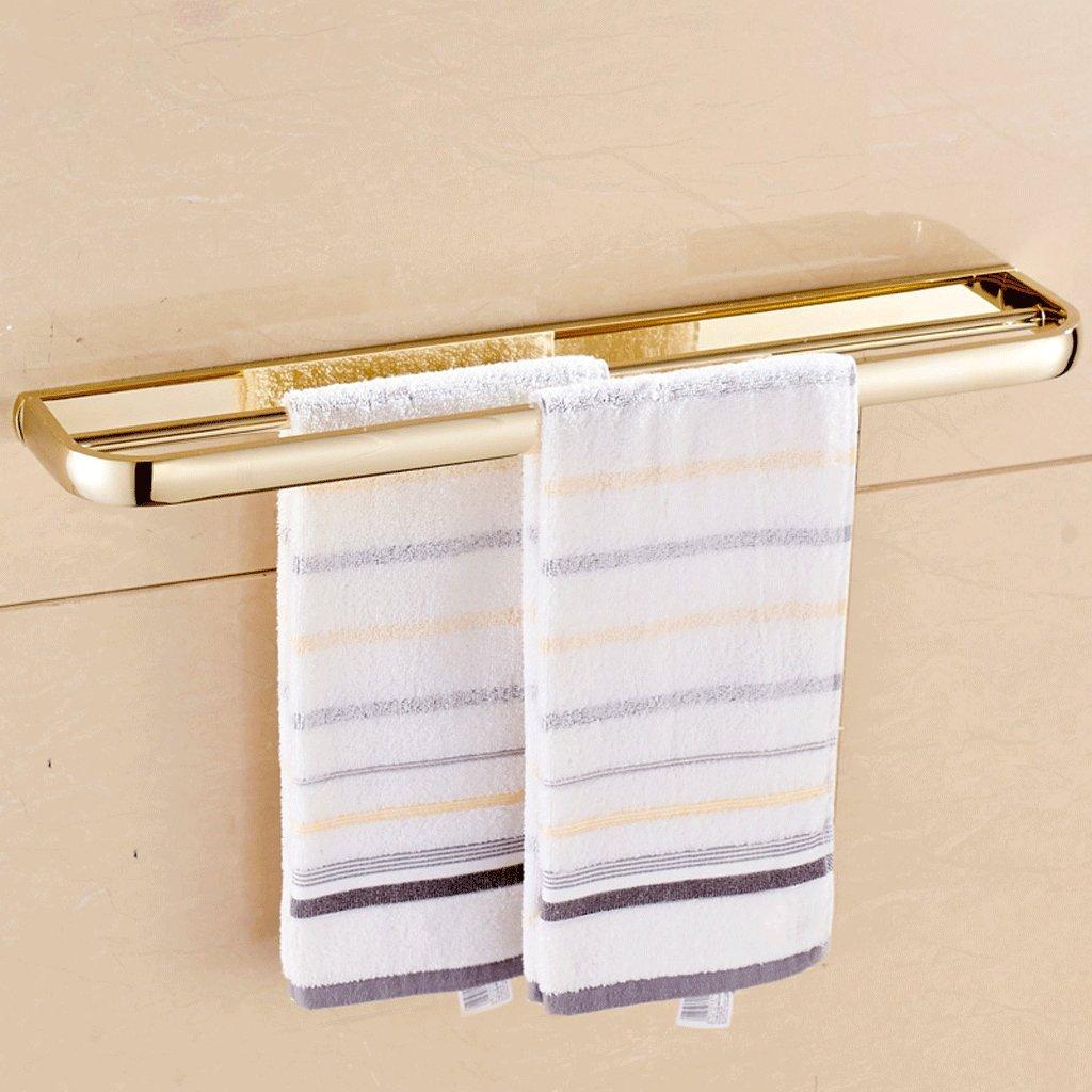57 * 10 * 2.6センチメートルゴールド銅タオルバーヨーロッパのバスルームの浴室のペンダントダブルタオルラック B07D1P1BYV A A