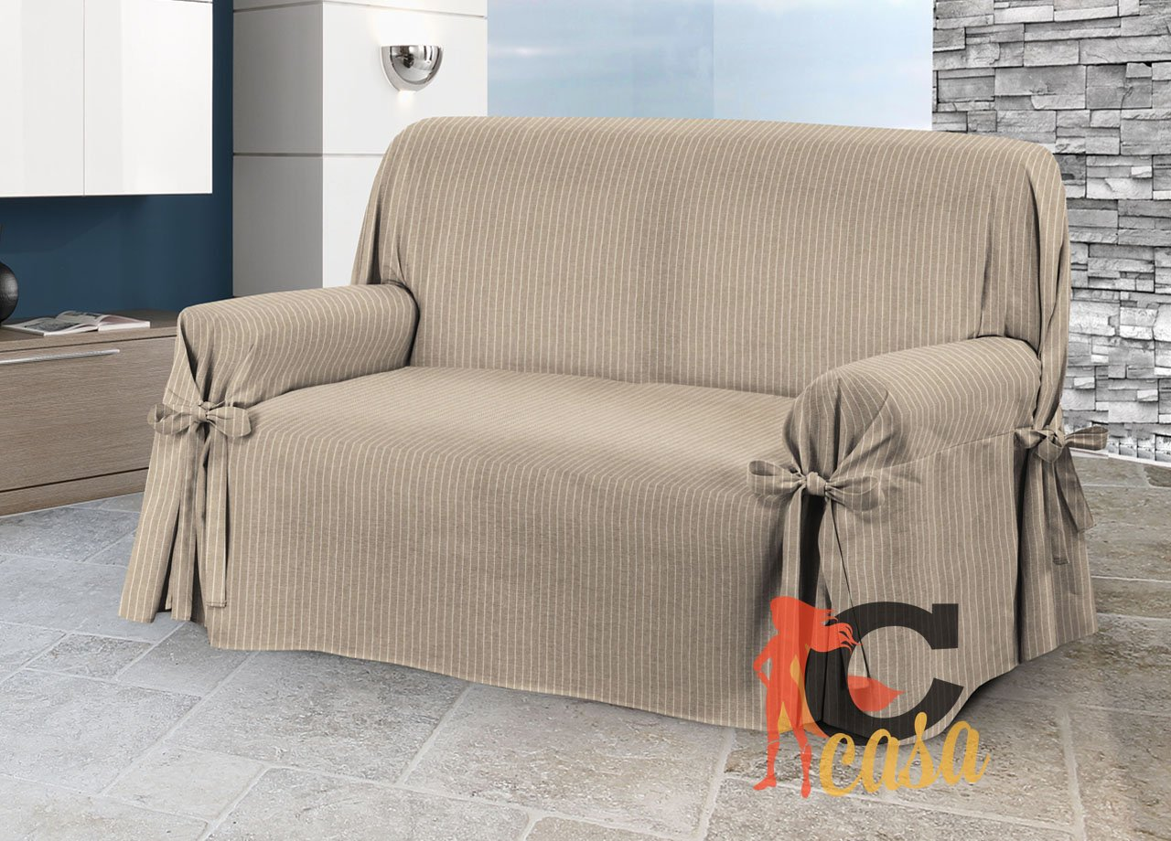 Sofa Cover with Ties - Design:Lord - Model: O.B. 2 Posti brown Capitan Casa