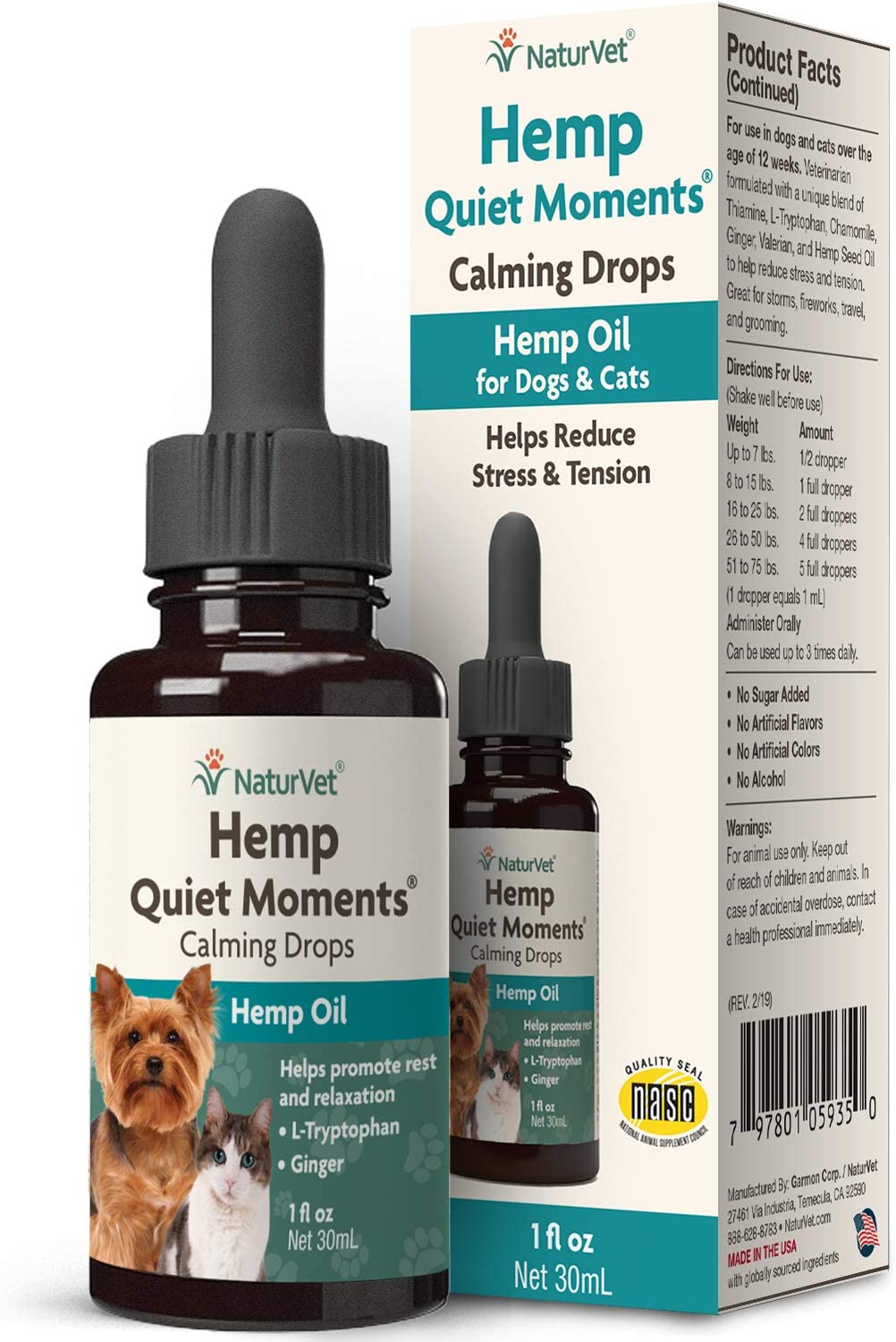 NaturVet – Hemp Quiet Moments Calming Drops - 1 oz – Enhanced With Hemp Seed Oil, L-Tryptophan & Ginger – Helps Reduce Stress & Promote Relaxation – For Dogs & Cats