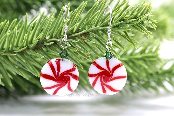 Amazon Com Peppermint Swirl Candy Christmas Earrings Lampwork
