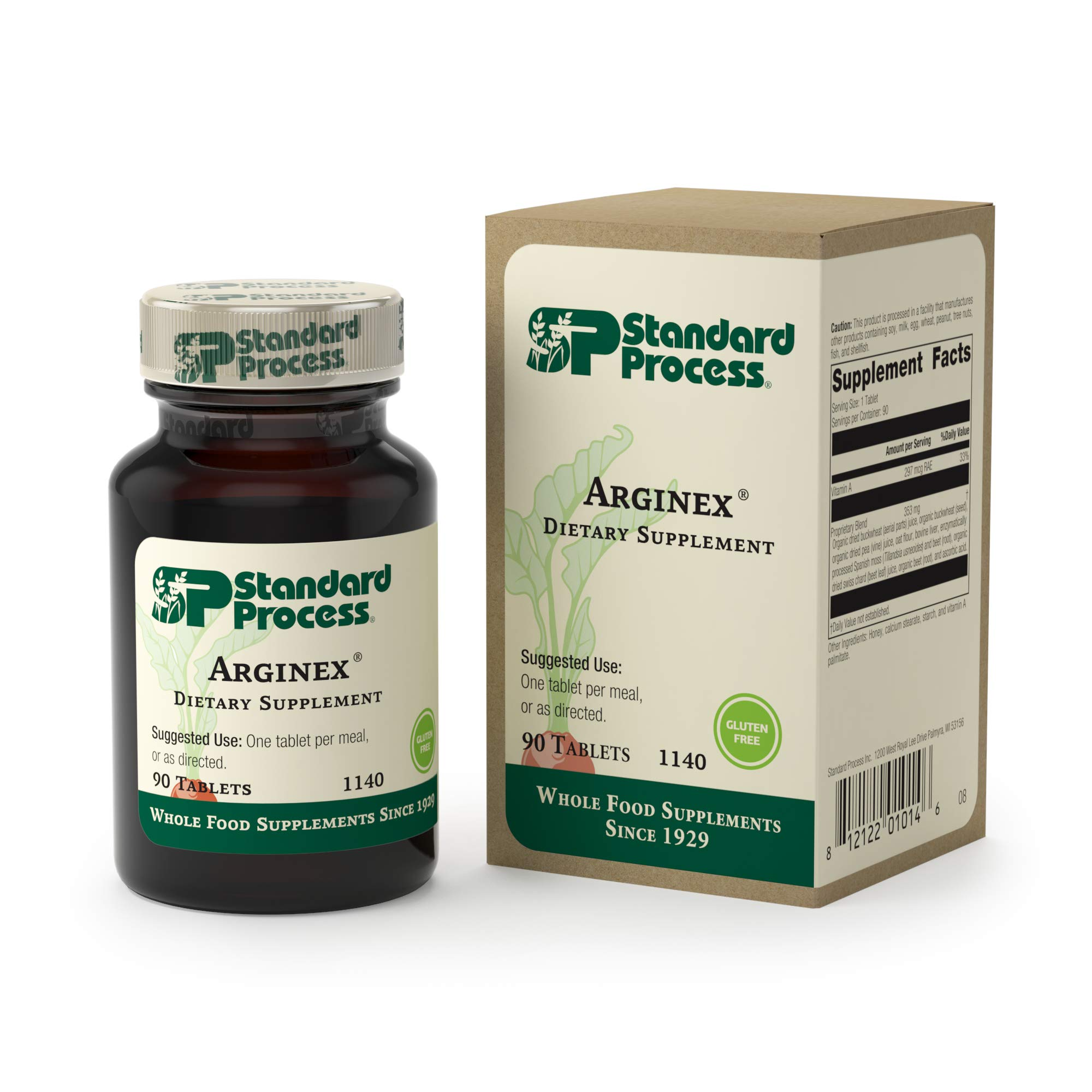 Standard Process - Arginex - 990 IU Vitamin A, Gluten Free Liver and Kidney Supplement, Promotes Healthy Blood Vessels, Liver Health, and Kidney - 90 Tablets by Standard Process