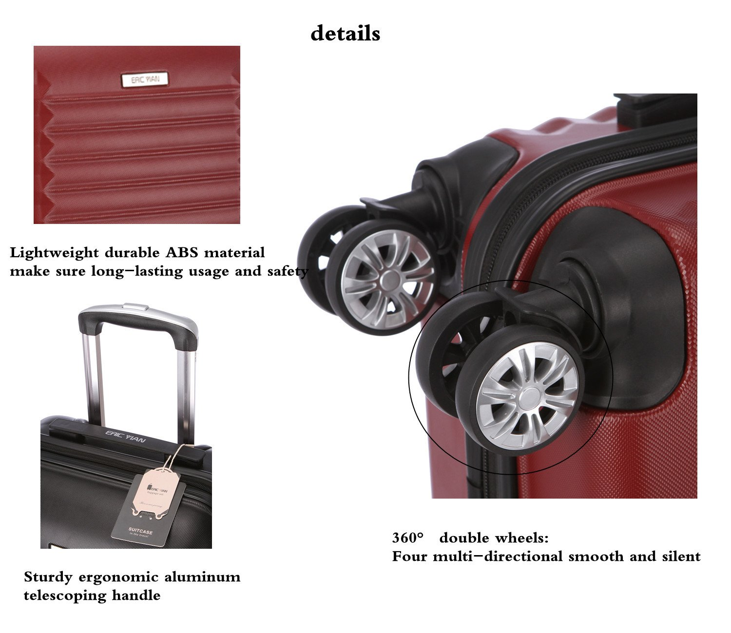 Luggage Set 3 Piece ABS Trolley Suitcase Spinner Hardshell Lightweight Suitcases TSA by ERIC YIAN (Image #5)