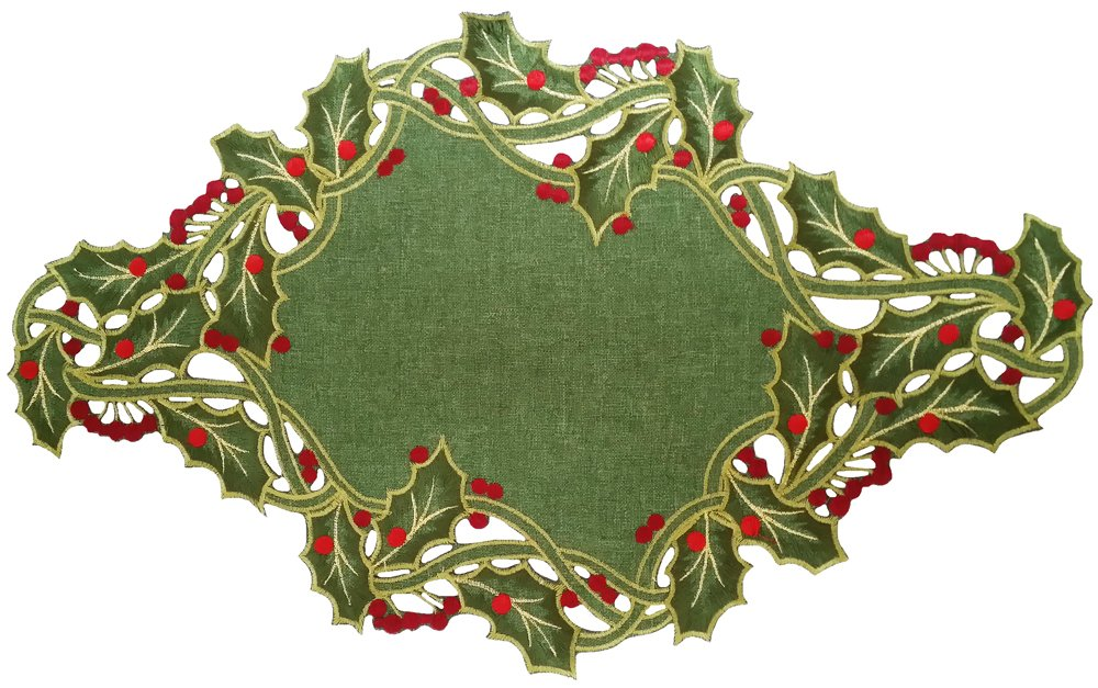 Christmas Tablescape Décor - Green and red Christmas holiday holly embroidered cutwork placemats - Set of 4