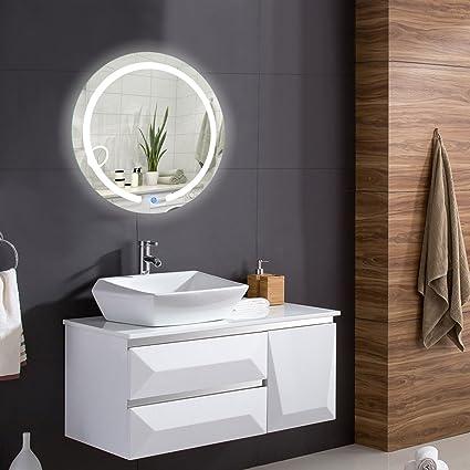 TANGKULA 20u0026quot; LED Mirror Round Wall Mount Lighted Mirror Bathroom  Bedroom Home Furniture Illuminated Vanity