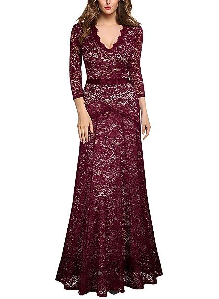 2ad34503f08a MIUSOL Formal Pizzo Floreale Coctel Vestito Donna Lungo: Amazon.it:  Abbigliamento