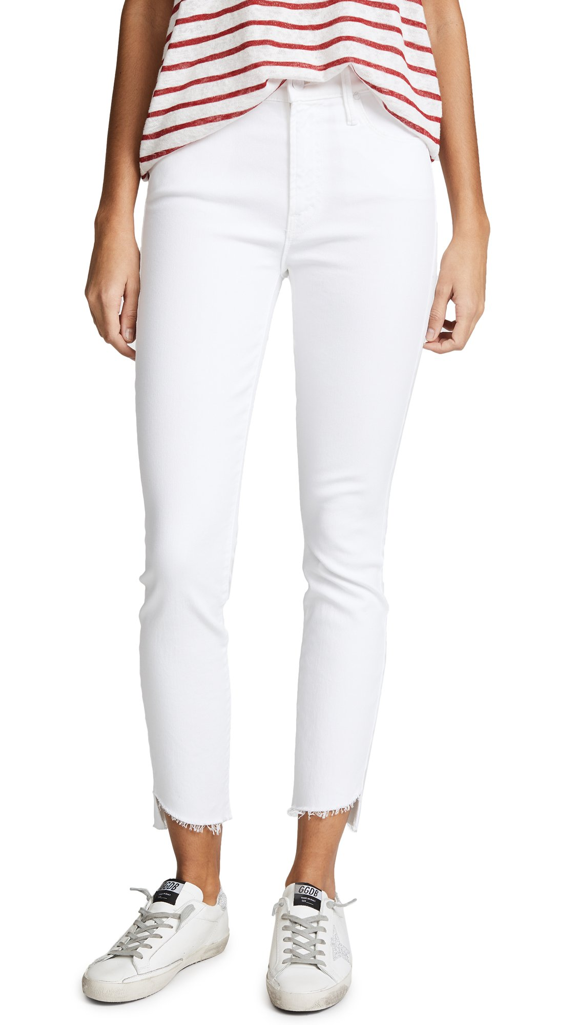 MOTHER Women's The Stunner Jeans With Zip Ankle & Step Fray, Glass Slipper, 23