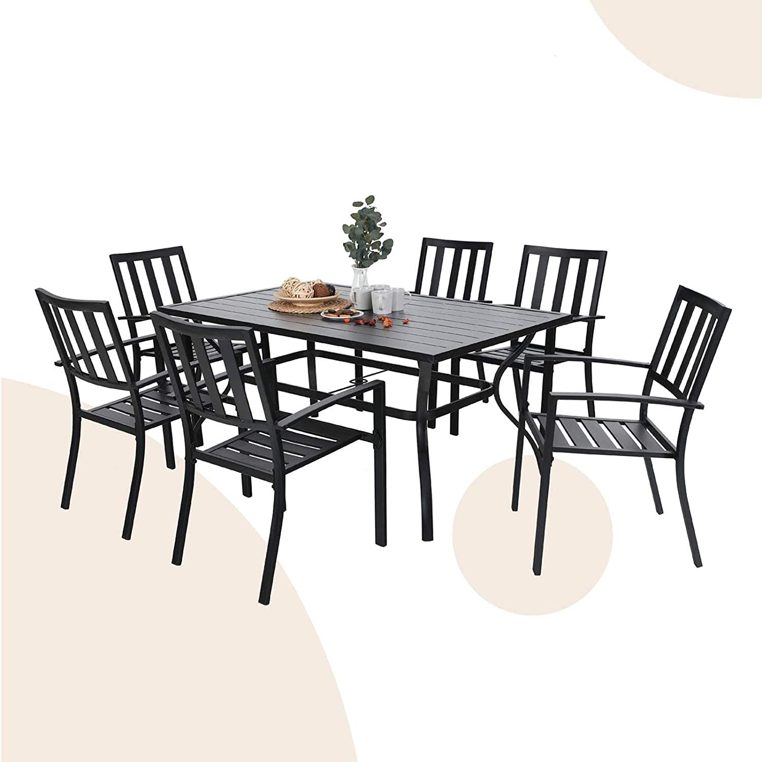 """MFSTUDIO 7-Piece Metal Outdoor Patio Dining Bistro Set with 6 Striped Armrest Chairs and Steel Frame Slat Larger Rectangular Table, 60"""" x 38""""x28"""" Table and 6 Backyard Garden Chairs-Black"""