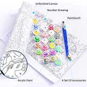 Ukontagood Paint by Numbers Kit for Adults Beginner Kids,DIY Oil Painting Kit on Canvas with Paintbrushes Acrylic Pigment,Arts Craft for Home Wall Decor,Happy Girl 16x20 inch