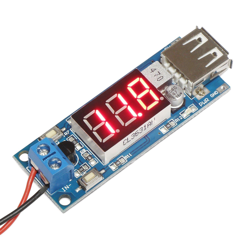 Droking DC-DC Buck Converter 4.5-40V 12V to 5V/2A Step-down Voltage Regulator Power Supply Module 5V USB with LED Voltmeter display 090945_OZ