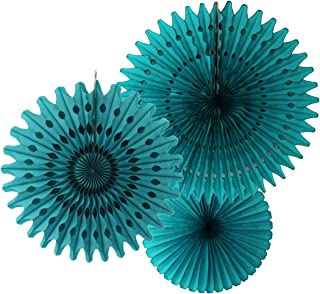 product image for Set of 3 Honeycomb Tissue Fans, Teal (13-21 Inch)