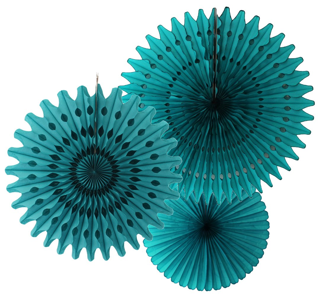 Hanging Honeycomb Tissue Fan, Teal Green, Set of 3 (13 inch, 18 inch, 21 inch)