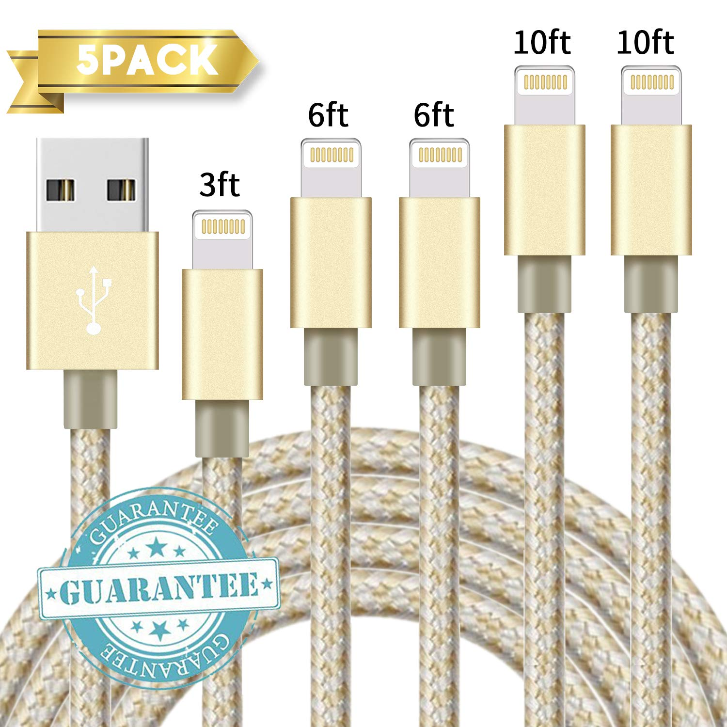 Gold DANTENG Compatible with Phone Charger,Phone Cable 5Pack 3FT 6FT 6FT 10FT 10FT Nylon Braided Compatible with Phone 8 8 Plus 7 7 Plus Phone Xs//XS Max//XR//X//6s 6s Plus 6 6 Plus Pad Pod Nano
