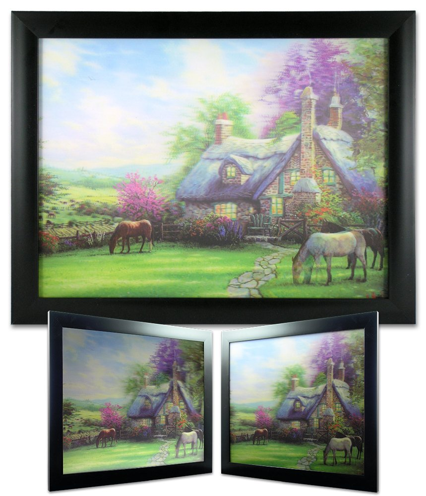 Amazon garden scene picture country cottage in a forest amazon garden scene picture country cottage in a forest with horses black framed artwork 3d wall art posters prints jeuxipadfo Choice Image