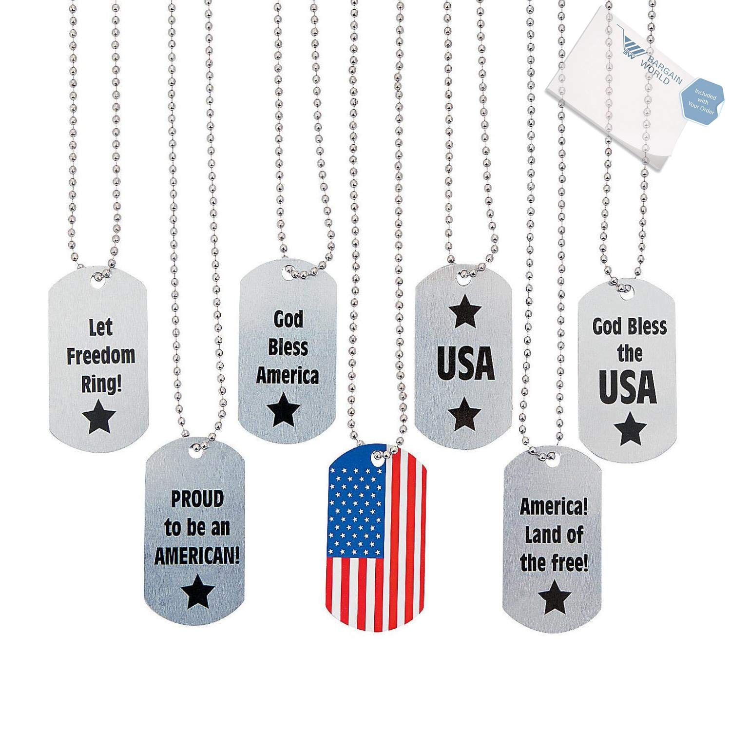 Bargain World Metal Patriotic Dog Tag Necklaces (With Sticky Notes)
