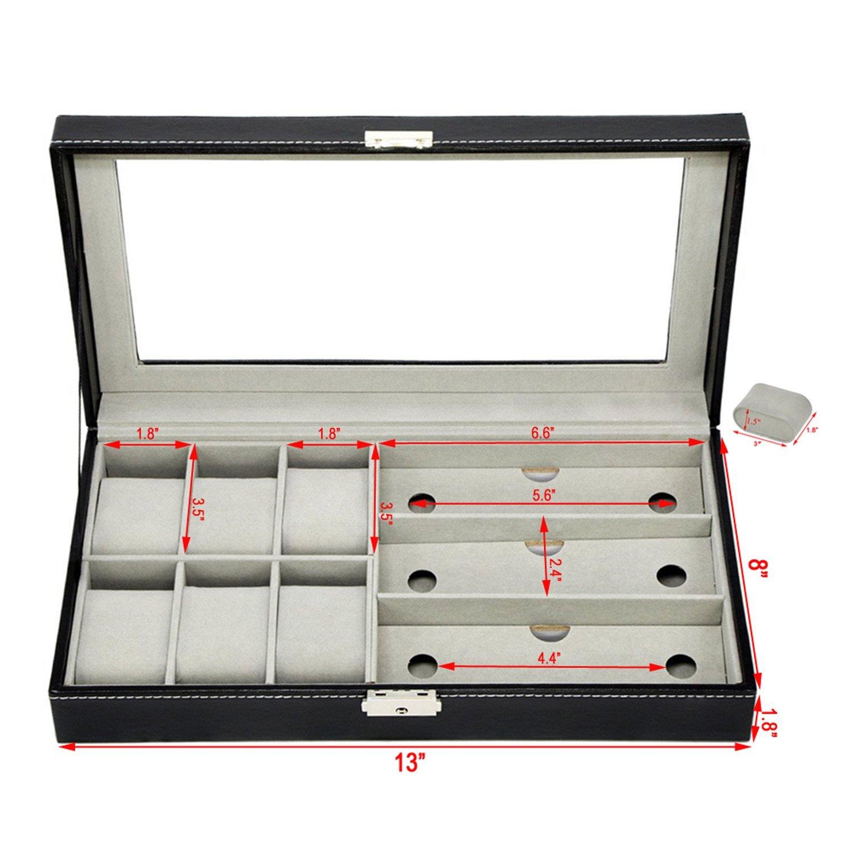Autoark Piel 6 Reloj Caja Joyas Caso y 3 Piezas Almacenamiento de Gafas y Gafas de Sol Gafas Pantalla Caso Organizador: Amazon.es: Hogar