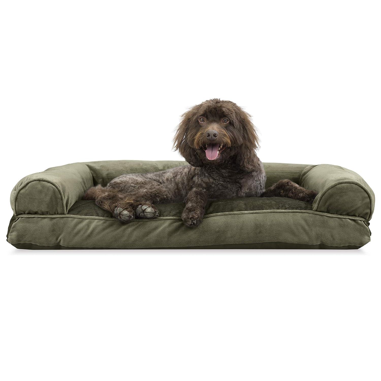 Dark Sage Large Dark Sage Large Furhaven Pet Dog Bed   Faux Fur & Velvet Pillow Sofa-Style Couch Pet Bed for Dogs & Cats, Dark Sage, Large