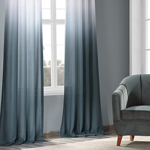 HPD Half Price Drapes FELCH-OMB1701-108 Faux Linen Sheer Curtain 1 Panel