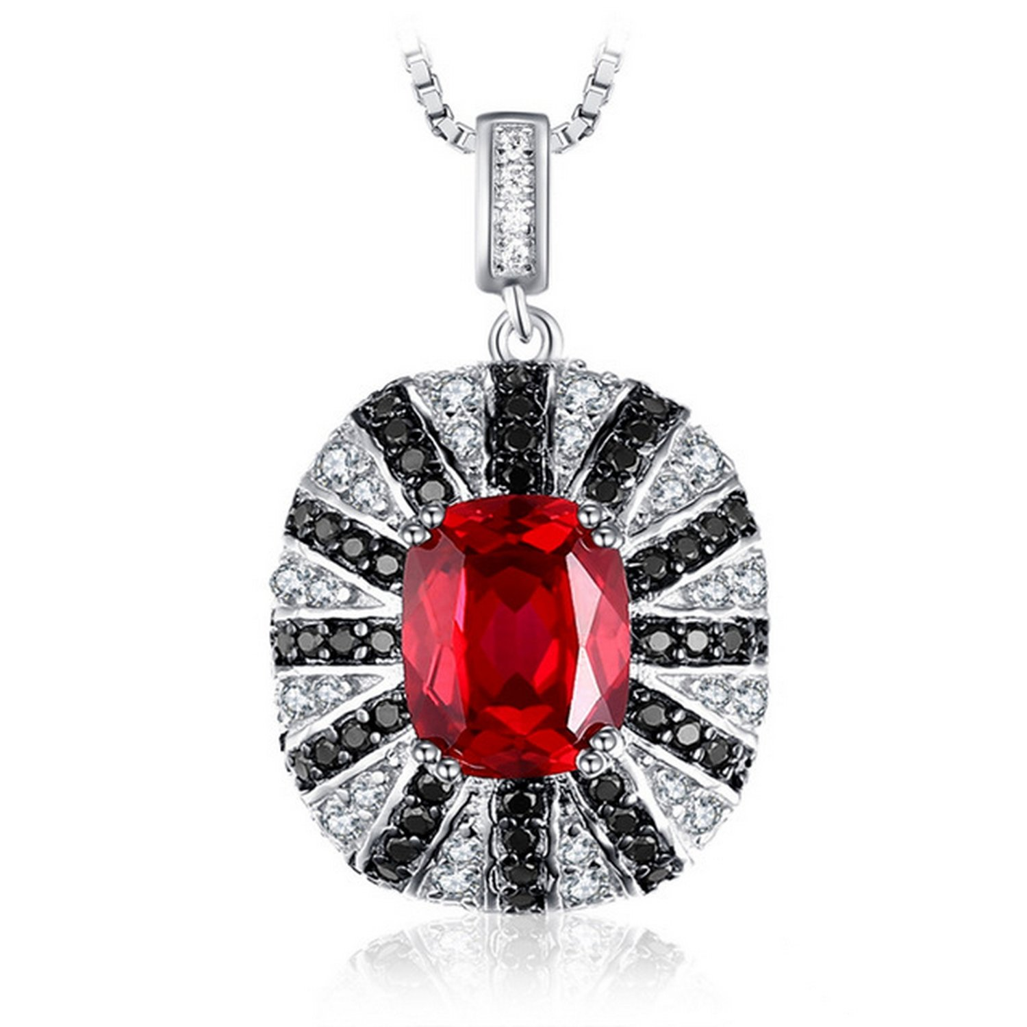 CS-DB Pendants 6ct Created Red Ruby Natural Black Spinel Silver Necklaces