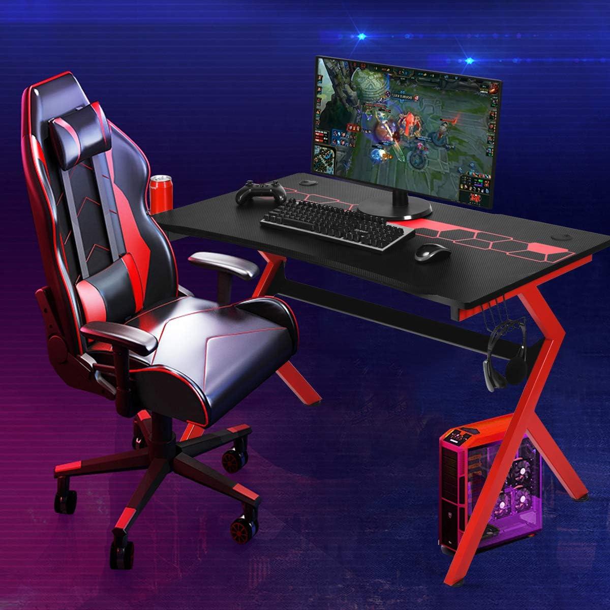 Costway Bureau Gaming,Bureau de Jeu pour Gamer en MDF+Tubes en Acier avec 1 Porte-Gobelet et 1Porte-Ecouteurs 115x66x77cm Noir Rouge