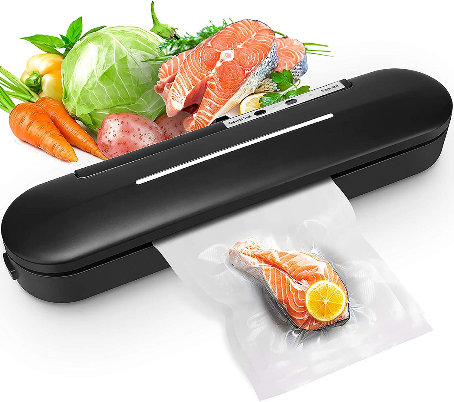 Vacuum Sealer, Premium Automatic Food Sealer Machine for Food Savers, Home Use, Automatic Vacuum Air Sealing System,Led Indicator Lights|Easy to Clean| Compact Design (Black)
