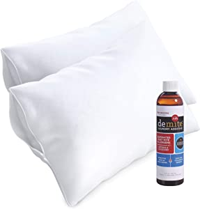 "DeMite Pillow Protectors 2-Pack w/Laundry Additive - 100% Cotton Allergy Barrier 21"" x 27"" Pillow Cover for Bed Bug Protection - Eliminate Allergens from Bedding & Clothing (Standard Cases + 8oz)"