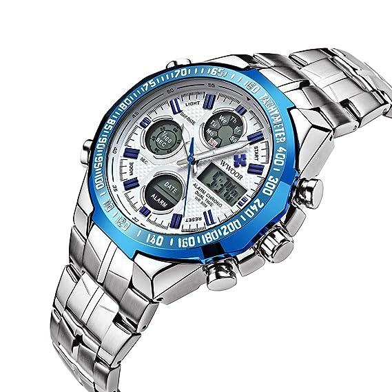 Reloj Digital de Cuarzo LED para Hombre con Pantalla Dual y Reloj Militar: Amazon.es: Relojes